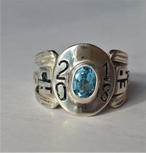 Silver Class Ring with Blue Topaz Hand Engraved & Hand Carved
