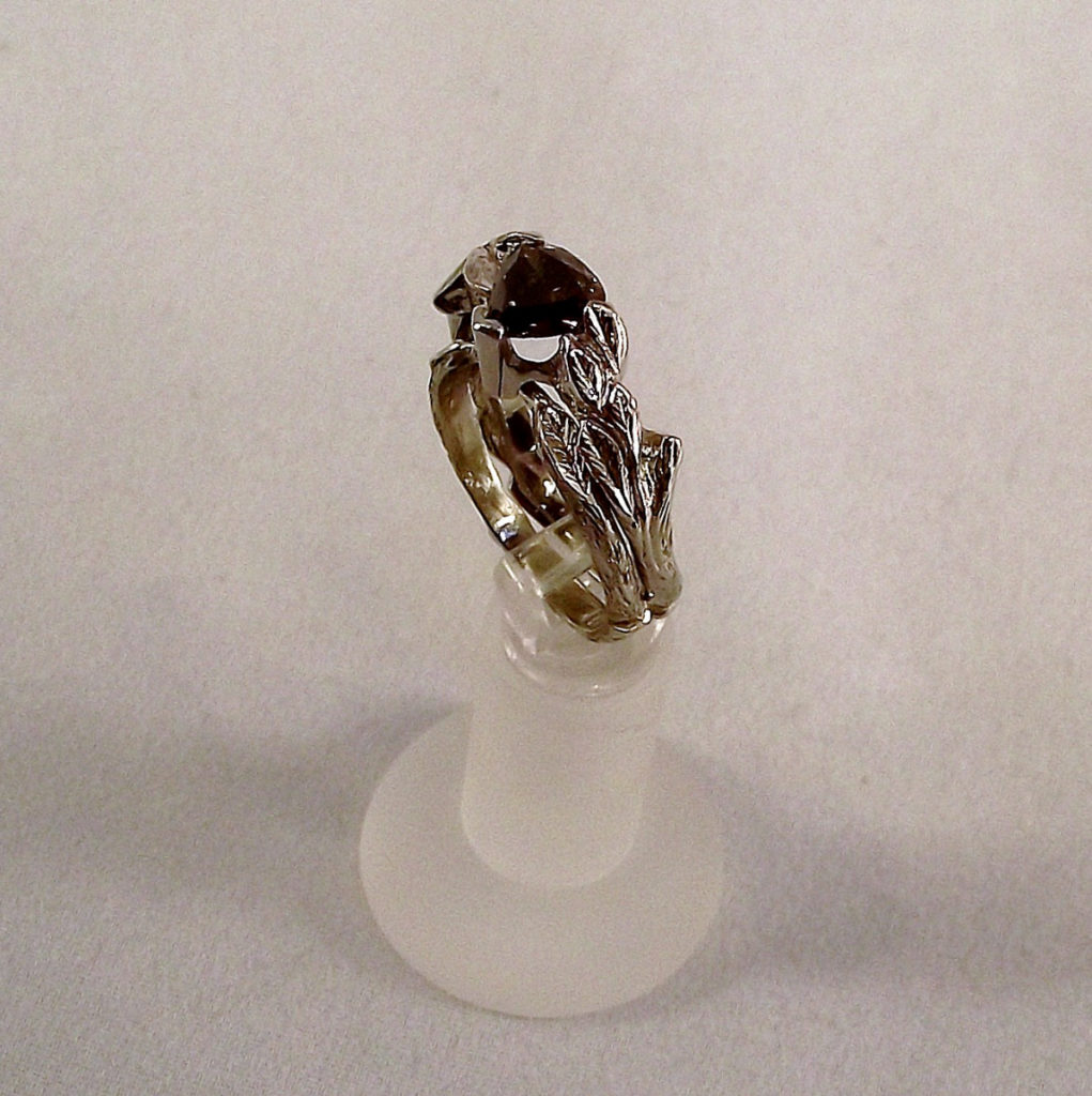 Chocolate Diamond with Carved Leaves Wedding Ring