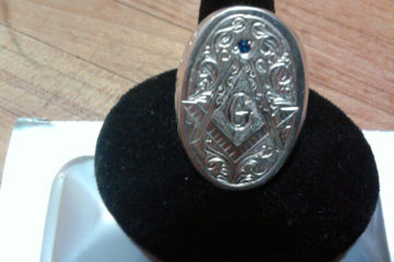 Masonic Ring with Blue Sapphire
