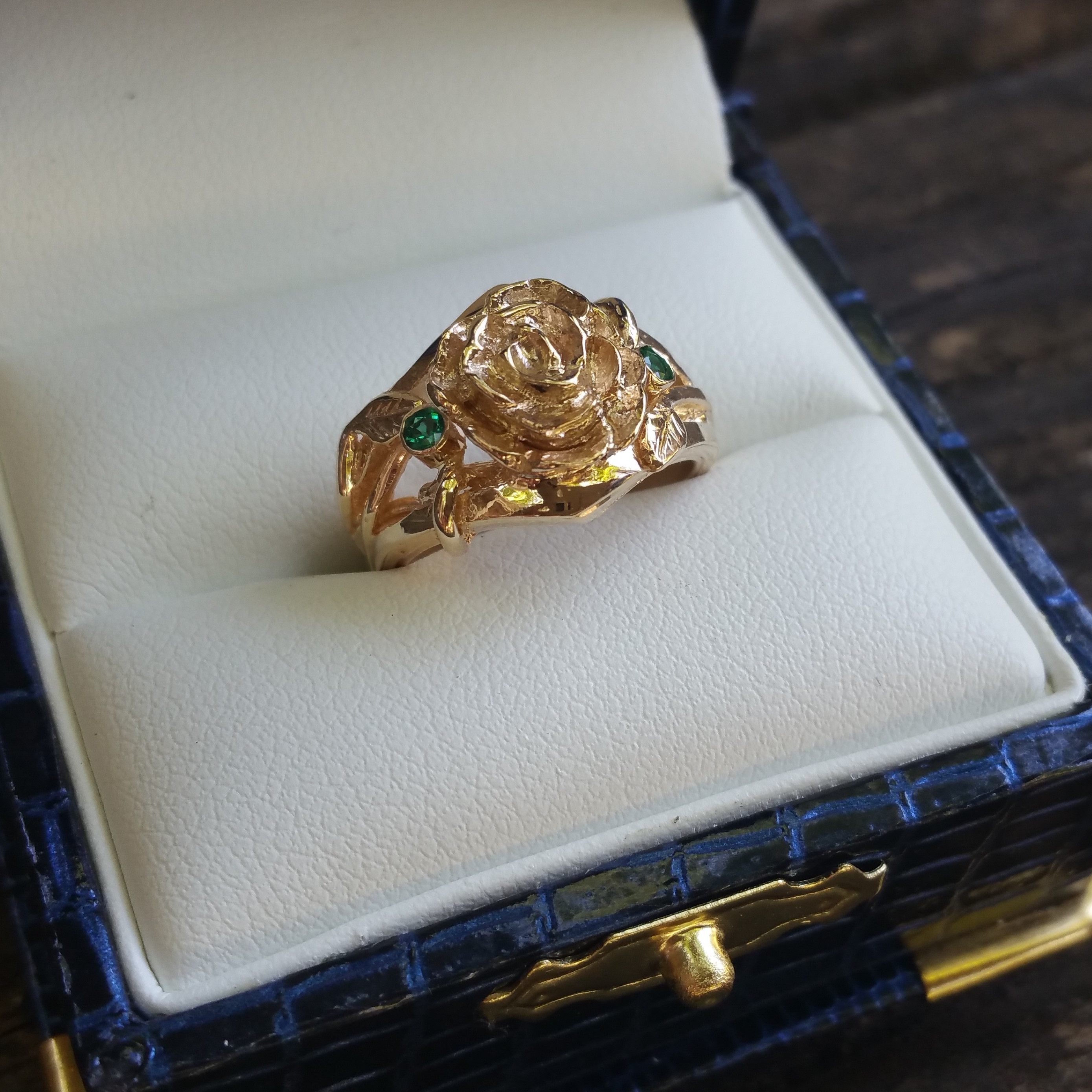 Hand Carved Rose Engagement Ring Gold and Emerald (1)