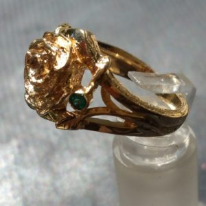 Hand Carved Rose Engagement Ring Gold and Emerald (3)
