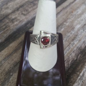 Hand Engraved Celtic Knot Silver Garnet Ring (1)