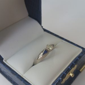 Hand Engraved White Gold Diamond Sapphire Ring (2)