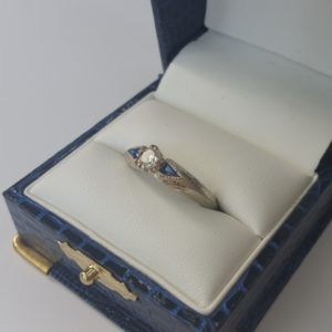 Hand Engraved White Gold Diamond Sapphire Ring (3)