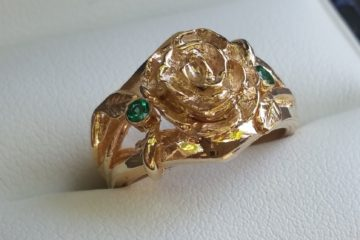 Hand Carved Rose Engagement Ring Gold and Emerald thumb